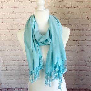 [Pashmina] 100% cashmere aqua lightweight scarf